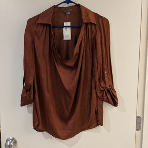 Vince Silk brown blouse top 2